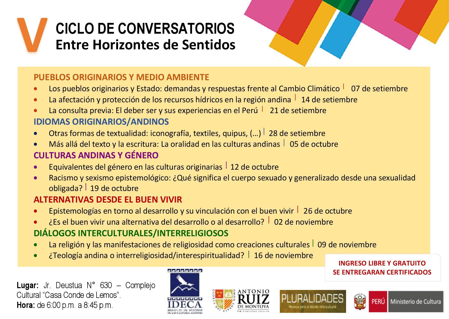 """V CICLO DE CONVERSATORIOS: """"ENTRE HORIZONTES DE SENTIDO"""""""