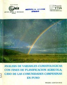 Análisis de variables climatológicas con fines de planificación agrícola; caso de las comunidades campesinas en Puno
